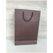 25 x 37 cm(h) popieriniai pakavimo maišeliai  su virvinė rankėlėle - dovanai, prekėms, maisto išsinešimui. Pakuotė 12 vnt.