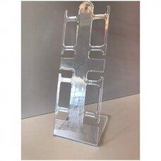 4 vietų PLA-4-SK stovas laikrodžiams ir apyrankėms.Skaidrus plastikas