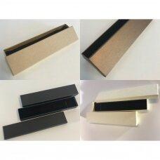 4 x 21 x 3 cm(h) Spalvota popierinė dviejų dalių dovanų dėžutė. 4 GALIMOS SPALVOS!! Pakuotė 12 vnt