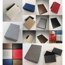 5 x 8 x 3 cm(h) Spalvota popierinė dviejų dalių dovanų dėžutė žiedams, juvelyrikai, papuošalams, bižuterijai. 10 GALIMŲ SPALVŲ!! Pakuotė 24 vnt
