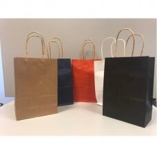 33(h) X 25,5 cm KRAFT tipo spalvoti popieriniai maišeliai su sukto popieriaus rankenėlėmis-dovanai, prekėms, maisto išsinešimui.
