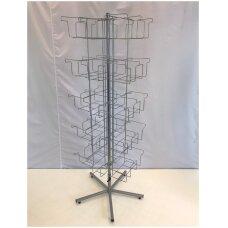 Metalinis sukamas prekybinis 118-PED stovas pėdkelnėms, sidabro spalva