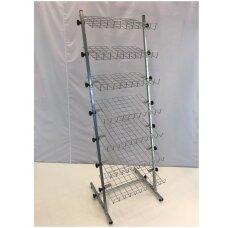Universalus metalinis surenkamas 7 lentynų stovas 23-BAT-7L-P galanterijai, batams, avalynei, kitoms prekėms.