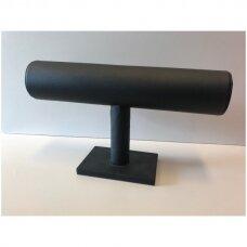 Vieno aukšto apyrankių, laikrodžių stovas APY-1-O-J, juoda dirbtinė oda, aukštis-14 cm.