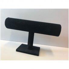 Vieno aukšto apyrankių, laikrodžių stovas APY-1-V-J, juodas aksomas, aukštis-14 cm.