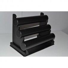 Išardomas trijų aukštų apyrankių, laikrodžių stovas APY-3-O-J, juoda dirbtinė oda, aukštis-24 cm.