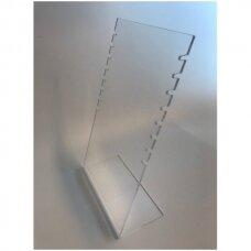 L-formos stovas iš skaidraus plastiko papuošalams ir grandinėlėms