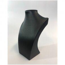 Paminkštintas kaklo papuošalų stovas NEW-O-J, juoda pusiau matinė dirbtinė oda. Aukštis - 25cm; 30cm; 35cm.