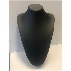 Kaklo papuošalų stovas KAK-36-O-J, juoda dirbtinė oda, aukštis  36 cm.