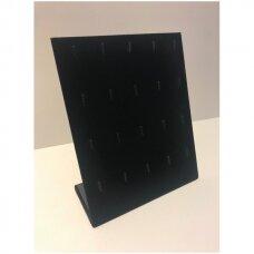 L-formos apyrankių, pakabukų stovas PAK-STV-L-J, juodas aksomas.