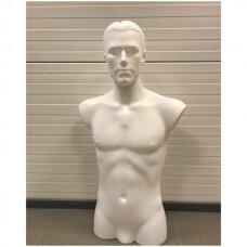Torsas vyriškas iš plastiko VYR-ILG-GAL-B - baltos spalvos,su galva, pastatomas.