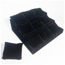 Trijų aukštų dėžė apyrankėms,laikrodžiams. Juodas aksomas, išimamos pagalvėlės.